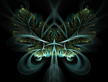 Artistic Abstraction Composed Of Fractal Butterfly Shapes And Lights