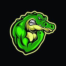 Muscle Crocodile Mascot