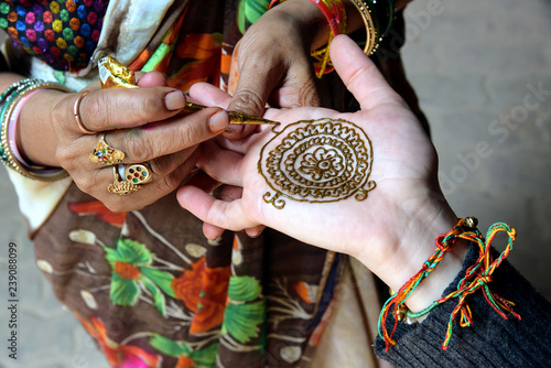 Indian Henna Hand Painting Mehndi Art Of Decorative Designs Created On A Persons Body Is A Popular Form Of Body Art In India Buy This Stock Photo And Explore Similar Images