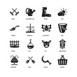 Set Of 16 icons such as Basket, Sickle, Fork, Fountain, Bird house, Rake, Trowel, Fence, Butterfly icon