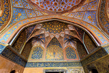 Intricate Tomb Ceiling Details At Famous Akbar Mausoleum In Agra, India