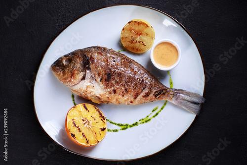 Fotografie, Obraz  grill pub and fish restaurant menu, proper nutrition, seafood, vegetarian, pescetarian