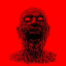 Angry Zombie Face On Red Background.