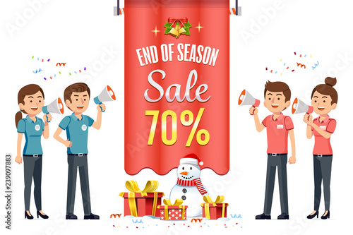 New Year's Eve Sale and Christmas Festival discount shopping at mall Wallpaper Mural