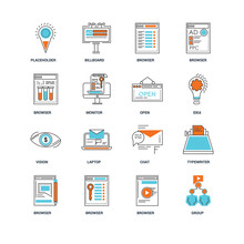 Set Of 16 Icons Such As Group, Browser, Typewriter, Placeholder, Vision, Open Icon