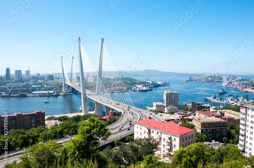 Fond de hotte en verre imprimé Piscine Russia, Vladivostok, July 2018: View of Golden Bridge over Golden Horn Bay of Vladivostok