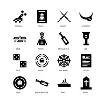 16 Icons Related To Grave, Ship, Ship In A Bottle, Gold, Letter, Cannon, Dice, Message Undefined, Undefined Signs. Vector Illustration Isolated On White Background.