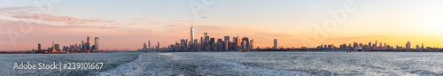 Photo Stands New York Panoramic View from the Staten Island Ferry of New York City Skyline