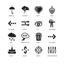 Simple Set Of 16 Vector Icon. Contains Such Icons As Music Controller, Shuffle, Umbrella, Undefined, Right Arrow, Speech Balloon, Cloud With Thunderbolt. Editable Stroke Pixel Perfect