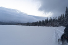 Snow Mobile Route Trip At Lake...