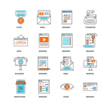 Set Of 16 Icons Such As Browser, Vision, Smartphone, Monitor, Filter, Open, Billboard, Browser Icon