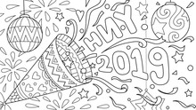 Hand Drawn Happy New Year 2019 Celebration For Design Element And Coloring Book Page. Vector Illustration