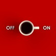 Top view of a cup of coffee isolated on red background, Coffee concept illustration, 3d rendering