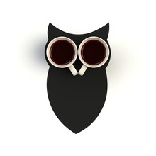 Top View Of A Cup Of Coffee In The Form Of Owl Isolated On White Background, Coffee Concept Illustration, 3d Rendering