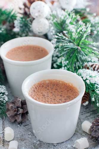 Foto op Plexiglas Chocolade two glasses with hot chocolate in Christmas decorations, selective focus