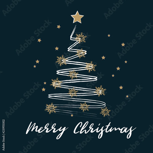 Fototapeta Merry Christmas and Happy New Year greeting card. Stylized  Christmas tree decorated with golden stars on a white background. Vector illustration. obraz