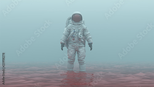 Photo Astronaut with Red Visor Standing in Red Liquid in a Foggy Overcast Alien Enviro