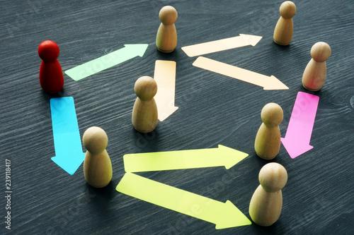 Delegating and teamwork. Figures on a desk. Wallpaper Mural