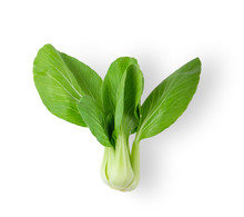 Bok Choy Vegetable Isolated On The White Background. Top View