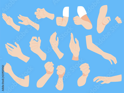 Fototapeta Set of human hands concept, animation, finger, arm, skin on gray background, flat style cartoon vector illustration