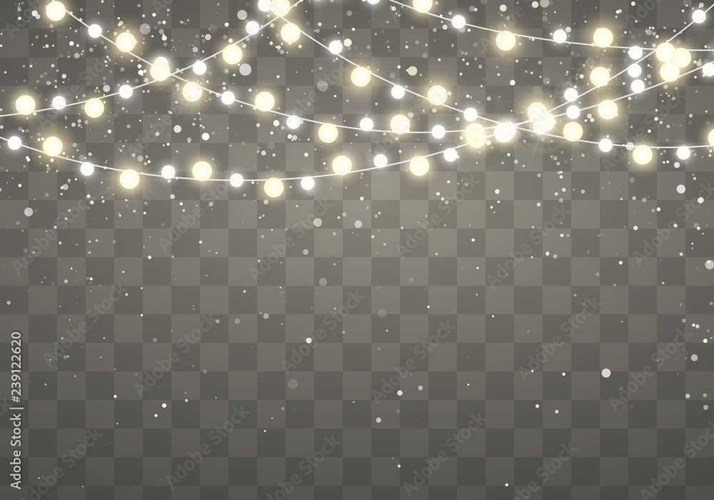 Fototapety, obrazy: Christmas lights with glittering falling snowflakes isolated on transparent background. Xmas glowing garland. Holiday decorative design elements. Garlands decorations. Vector illustration