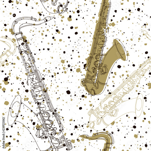 Piękne obrazy   seamless-pattern-with-saxophones-stylish-vector-hand-drawn-background