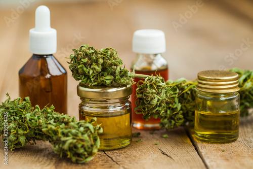 close up recreation marijuana medical cannabis oil cbd Canvas Print
