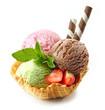 Leinwandbild Motiv various ice cream scoops in waffle basket