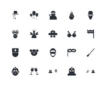 Set Of 20 Icons Such As Confet...