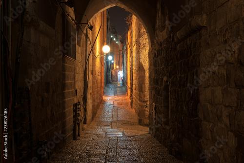 Fototapeten Schmale Gasse Night street in the Jerusalem old city , Israel.