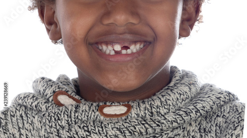 Fotografie, Obraz African child showing his new teeth
