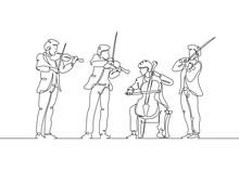 Line Drawn Musical Quartet Violin Musicians