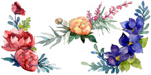 Blue, Red And Orange Bouquet. Watercolor Background Illustration Set. Isolated Bouquet Illustration Element.