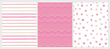 Set Of 3 Varius Abstract Vector Patterns. Beige And Pink Round Shape Falling Confetti. Pink And White Background. Pink And Beige Dots, Stripes And Chevron Design. Cute Infantile Style Art.