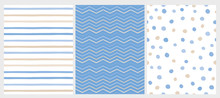 Set Of 3 Varius Abstract Vector Patterns. Beige And Blue Round Shape Falling Confetti. Blue And White Background. Blue And Beige Dots, Stripes And Chevron Design. Cute Infantile Style Art.