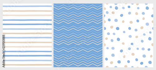 Set of 3 Varius Abstract Vector Patterns Canvas Print