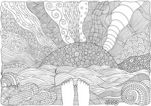 Black And White Fantasy Picture With Sun And Sea Shore. Bare Feet. Beach Landscape. Pattern For Adult Coloring Book Page. Hand-drawn, Doodle