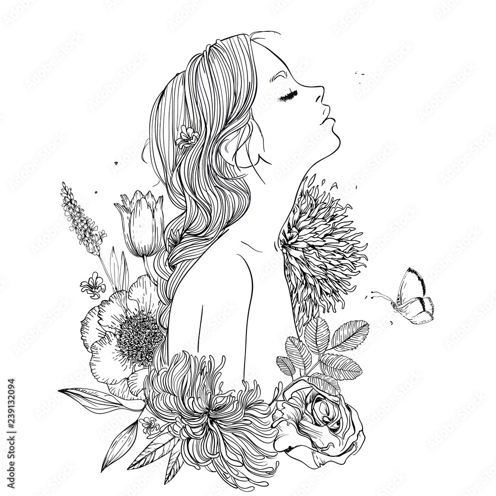Fototapeta profile of young beautiful woman with flowers