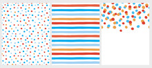 Cute Abstract Vector Patterns And Layout. Orange, Blue And Red Round Shape Falling Confetti. White Background. Red, Blue And Orange Dots And Stripes Design. Cute Infantile Style Patterns.