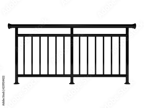 Leinwand Poster White metal modern railing render 3d model on the white background