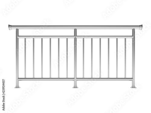 Valokuva White metal modern railing render 3d model on the white background