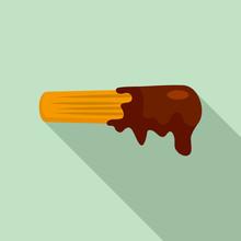 Churro Icon. Flat Illustration...