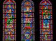 Vidrieras de la catedral de Chartres, los profetas Isaías y Ezequiel y la Virgen con el Niño, Francia