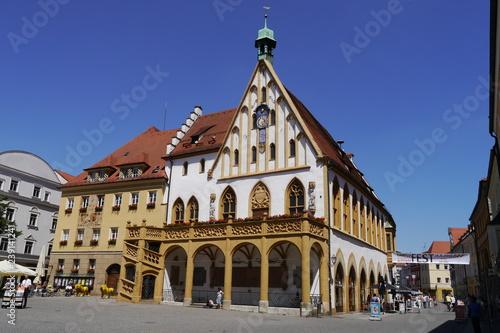 Gotisches Rathaus am Marktplatz in Amberg Canvas Print