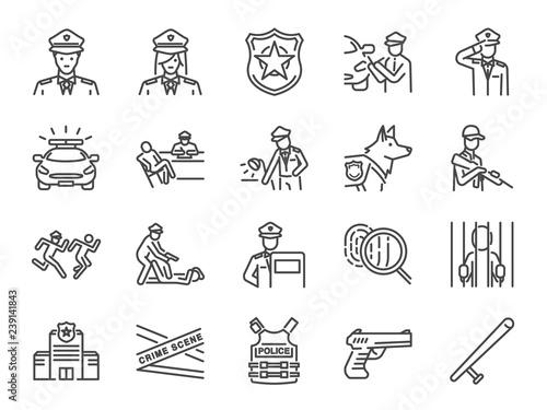 Fotomural  Police line icon set