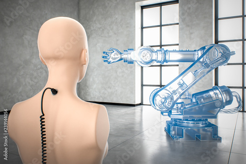 AI controlling virtual industrial robot automation of manual