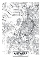 City Map Antwerp, Travel Vector Poster Design
