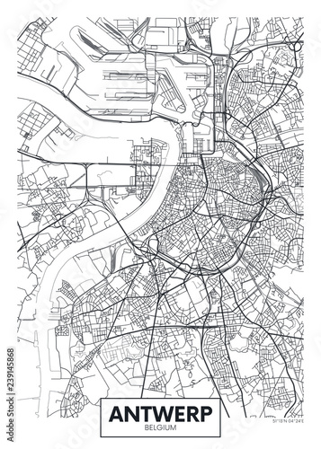 City map Antwerp, travel vector poster design Fotobehang