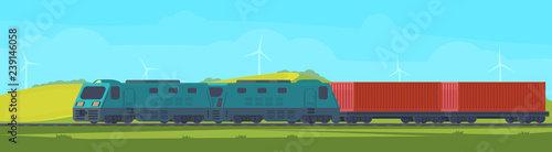 Freight train with container on railway car Wallpaper Mural
