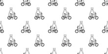 Bear Seamless Pattern Vector Polar Bear Bicycle Riding Cycling Cartoon Scarf Isolated Illustration Tile Background Repeat Wallpaper